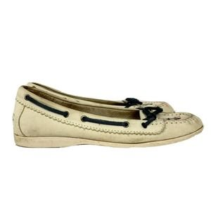 L.L. Bean Cream Ivory Leather Boat Shoes